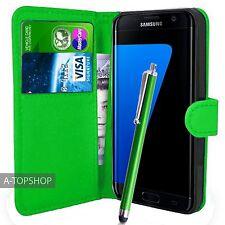 Vert étui porte-feuille Cuir PU Couverture Du Livre Pour Samsung Galaxy S7 Edge