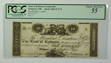 Sept. 1 1832 $10 Bank Baltimore MD Counterfeit PCGS 55 Haxby MD-15-C74