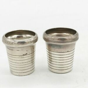 ANTIQUE SILVER PLATE ART DECO GERSYL DEPOSE 2 SHOT GLASSES CUPS FROM COCKTAI SET