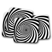 4 Set - Psychedelic Swirl Coaster - Puzzle Optical Illusion Spiral Gift #15214