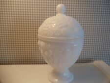 Avon White Milk Glass Footed Candy Jar with Lid