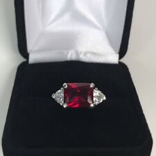 2.5ct Emerald Cut Pink Ruby Diamond Trilogy Engagement Ring 14k White Gold Over