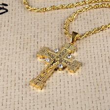 Fashion Gold Hip-Hop Cross Crystal Rhinestone Big Pendant Necklace Jewelry
