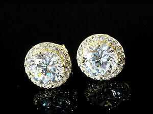 333 Gold Ohrstecker grosse runde 9,5 mm  1 Paar mit 50 Zirkonia Steinen