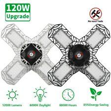 120W Brightest Deformable Garage LED Lights 12000LM E27 Base for Workshop Shop