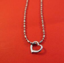 10 INCH 14KT WHITE GOLD EP 2MM FANCY MILITARY BAR BALL CHAIN ANKLET WITH HEART