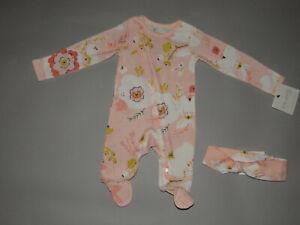 NWT, Baby girl clothes, Newborn, Carter's Organic Sleep & Play & Headwrap