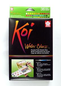 Sakura Koi 36 Set of Pan Watercolours by with Water Brush Watercolour Travel Kit
