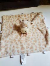 Kelly Baby Security Blanket Lovey Giraffe Tags around Edge Cream Tan Spots EUC