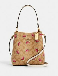 Coach Small Town Bucket Bag In Signature Canvas With Watermelon Print New!