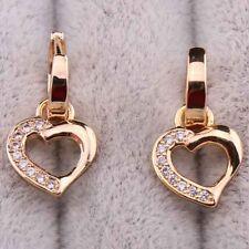 Oro Rosa Gf Ladies negro Onyx CZ Corazón Aro Pendientes de piedras preciosas