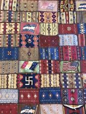 Antique Vintage Native American Flag Tobacco Felts  84 Sewn Together Quilt Top