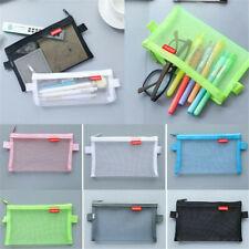 Transparent Student Pen Pencil Case Zip Mesh Portable Pouch Makeup Bag-Storage