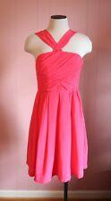 Madewell Twilight Twirl Dress Size 12 Vivid Poppy Bright Pink Silk Halter