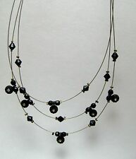 Vintage 3 Strand Black Bead & Rhinestone Illusion Floating Necklace