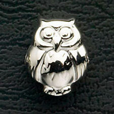 Owl European Beads Fits Charm Bracelet & Necklace Stainless Steel Silver Jewelry