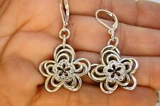 New Brighton Infinity Flower Silver & Crystal Charm On Custom Lever Back Earring