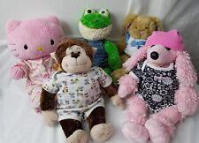 "Lot (5) Build a Bear 19"" Plush Inc Hello Kitty, Poodle, Frog, Bunny, Monkey"