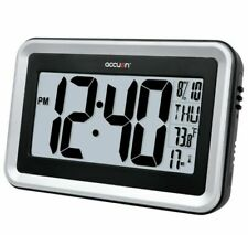 Accuon Atomic Radio-Controlled Digital Wall Clock with Indoor Temperature
