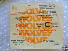 1972 Ticket Wolverhampton Wanderers v Chelsea, 16th Dec 1972