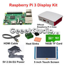 Raspberry Pi 3 Display Kit with 5 inch Touch Screen 16GB EU Power Official Case