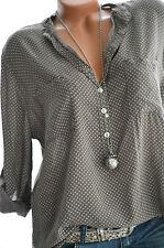 ITALY MODA Tunika Oversize Hemd DOTS Bluse Fischerhemd TAUPE BRAUN 44 46 NEU
