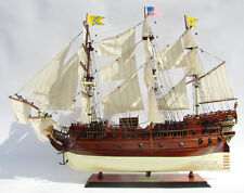 "USS Bonhomme Richard 1765 Tall Ship Assembled 34"" Built Wooden Model Boat"