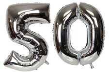 16 inch 50 Silver Number Balloons 50th Birthday Party Anniversary Foil Balloon