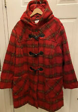 WOMAN WITHIN Womans Plus Size Wool Blend Winter Coat Jacket Size 32W Red Plaid