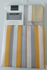 Yellow-Grey Stripes Shower Curtain