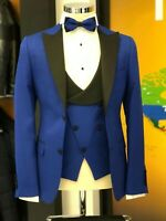 Men Blue Designer Wedding Stylish Tuxedo Dinner Casual Suit (Jacket+Vest+Pants)