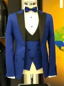 Men Blue Designer Wedding Stylish Tuxedo Dinner Casual Suit (Jacket+Vest+Pants)