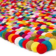 Size 5 ft /3 ft Bright Pom Pom Felt Balls Living room rug Rectangle Nursery Rug