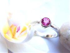 Ring Silber  925  Turmalin  rosa pink rund  0,53  Carat  5 mm  Weite 52