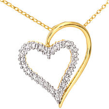 Naava 9ct Yellow Gold Diamond Heart Pendant Necklace + 46cm Chain (PP3175Y)