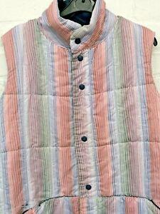 Original Vintage Puffa Branding White Multi Stripe Popper Gilet Jacket Large #CF