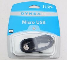 (SINGLE) Dynex - DX-C114201 High Quality 3Ft Micro USB Cable Black Sealed New