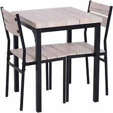 Small Compact Kitchen Dining Table 2 Chairs Metal Legs With Wooden Top And Seats