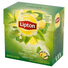 LIPTON Lemon & Melissa Flavored Green Tea - 20 Silk Pyramid Bags Box