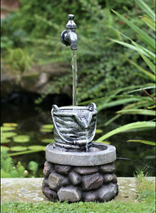 Garden Water Feature Fountain LED Light In/Out Tap Statues Ornament DS5935 BOXED