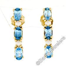 14K Yellow Gold 1.10ctw Alternating Oval Blue Topaz & Pearl Long Drop Earrings