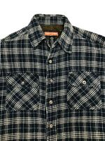 Craftsman Sherpa Lined Plaid Flannel Button Front Shirt Mens Large Blue Top EUC