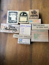 Word Rubber Stamp Lots Anniversary book plates ive arrived Home invited sign