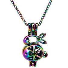 "C71 Multi Color Rabbit Pearl Cage Locket Pendant Necklace 18"""