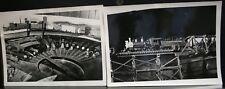 2 VINTAGE PHOTO PHOTOGRAPH MODEL RAILROAD TRAINS ENGINES ROUNDHOUSE TRESTLE