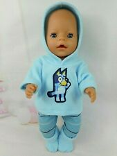 """Dolls clothes for 17"""" Baby Born doll~BLUE DOG HOODIE~STRIPED LEGGINGS~BOOTS"""