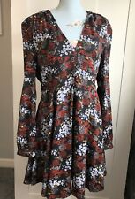 Glamorous Floral Black Long Sleeved Dress. Size 16 TALL. New w Tags. Glamourous