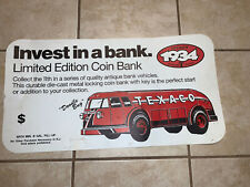 Texaco 1934 Diamond T Tanker Truck Diecast Coin Bank  Store Sign