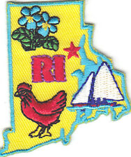 """RI"" RHODE ISLAND STATE SHAPE - Iron On Embroidered Applique Patch/New England"