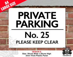 No Parking Private Parking Sign Custom Text Personalised Rigid Wall A4 SIZE